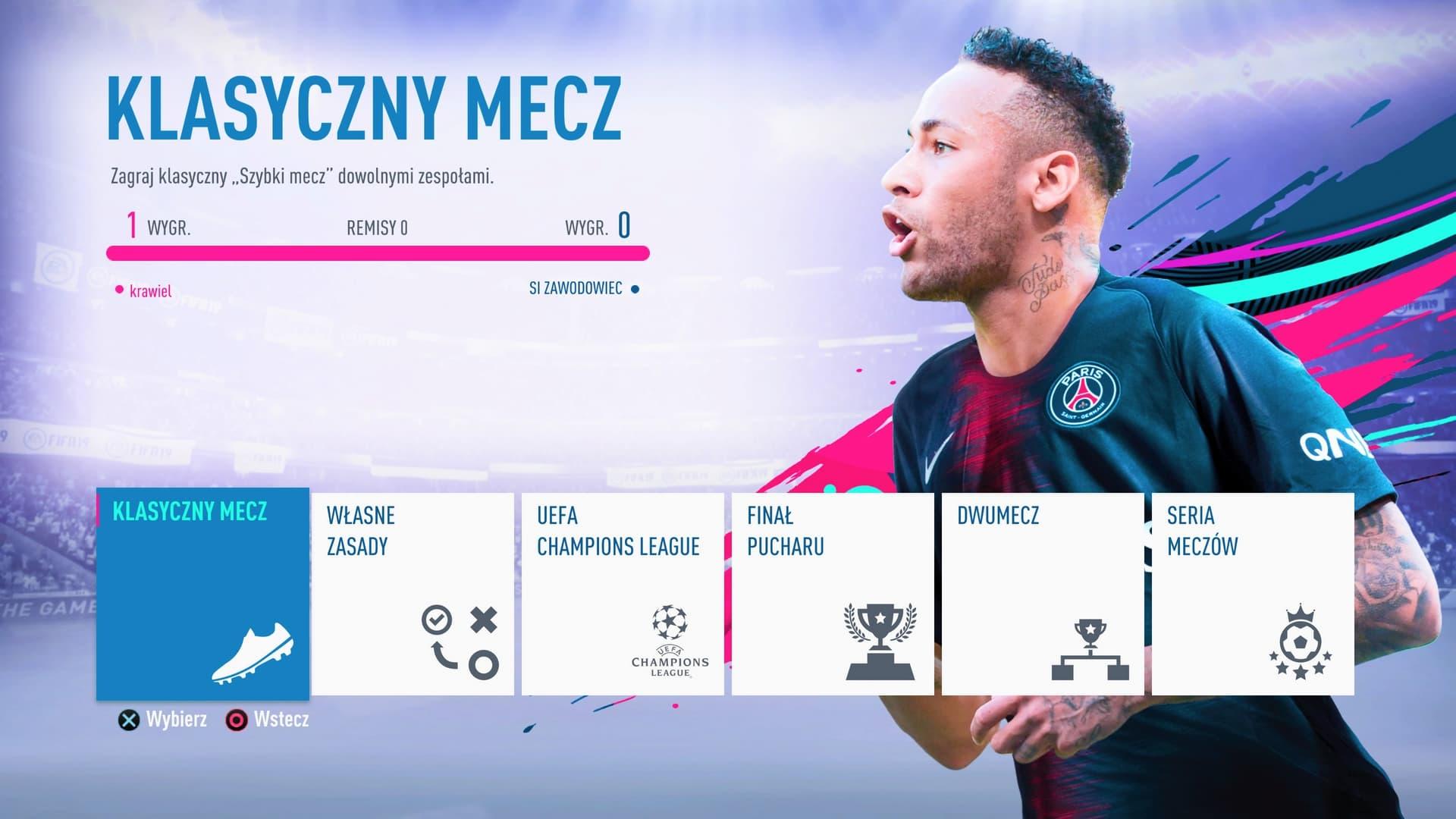 FIFA 19 menu