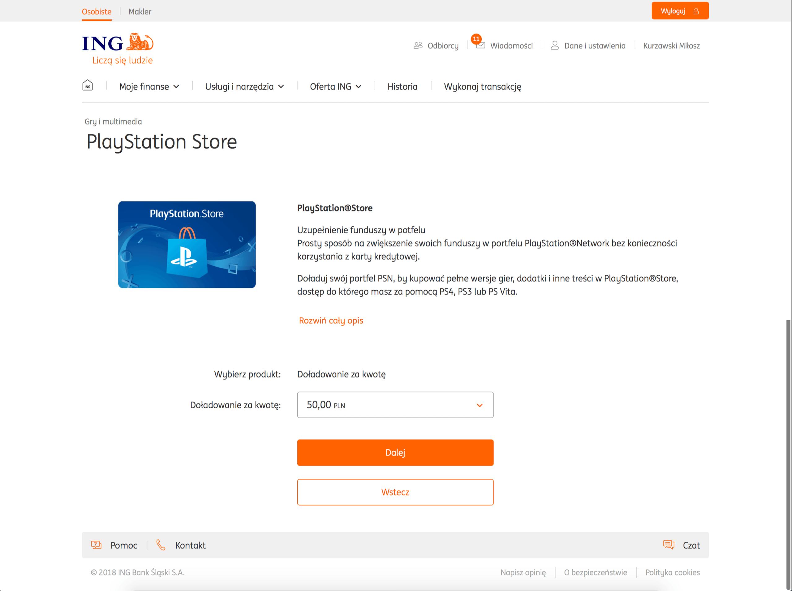 ING Blue Media doładowanie PS Plus bez karty kredytowej