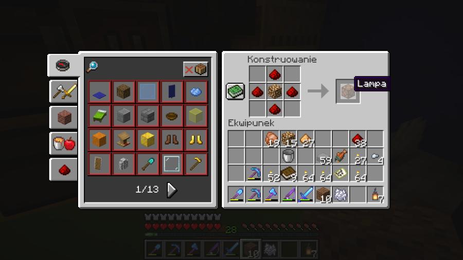 jak wygląda crafting lampy w minecraft?