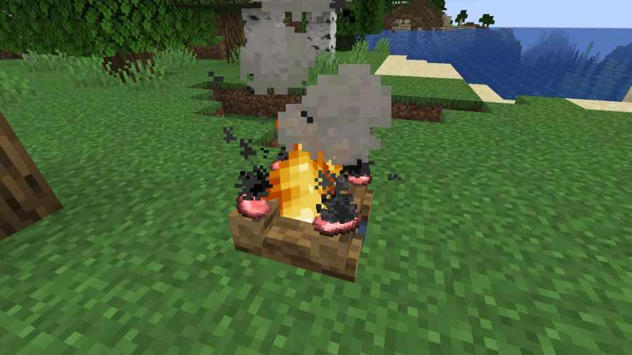ognisko w Minecraft pozwala na pieczenie mięsa