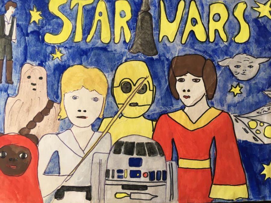 Fanowski rysunek z lat 80-tych na konkurs zorganizowany przez brzeski fanklub Star Wars Falcon