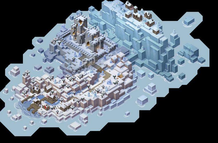 Mapa DLC Creeping Winter do Minecraft Dungeons.